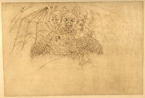 Lucifer's three heads and bat-like wings by Sandro Botticelli (danteworlds.laits.utexas.edu)